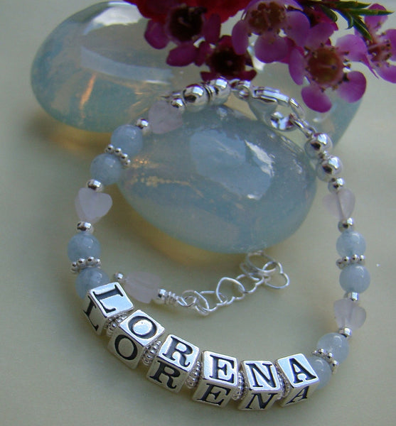 Aquamarine Gemstone March Birthstone Rose Quartz Hearts Name Bracelet