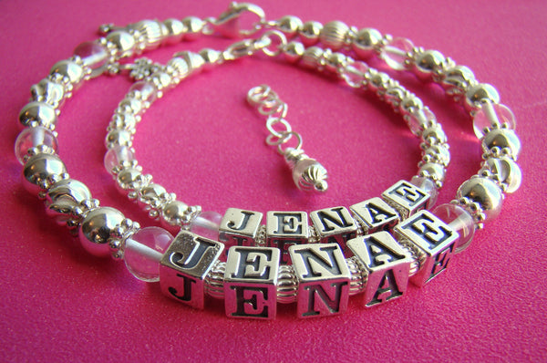 Mother and Daughter April Crystal Gemstone Birthstone Fancy Sterling Silver Baptism Name Bracelet Set