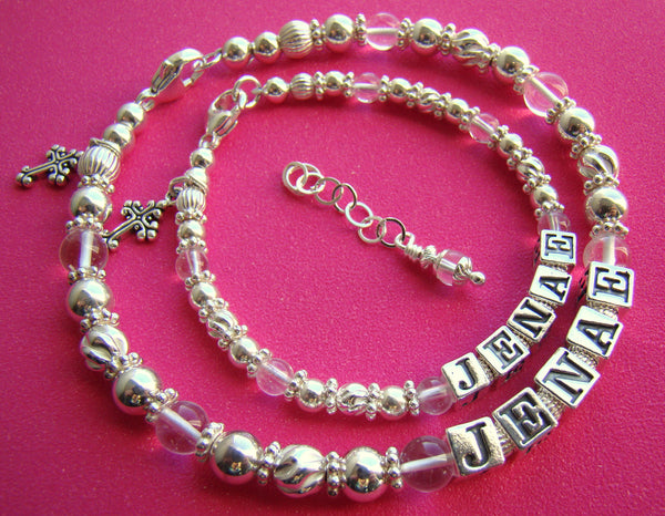 Mother and Daughter April Crystal Gemstone Birthstone Sterling Silver Baptism Name Bracelets
