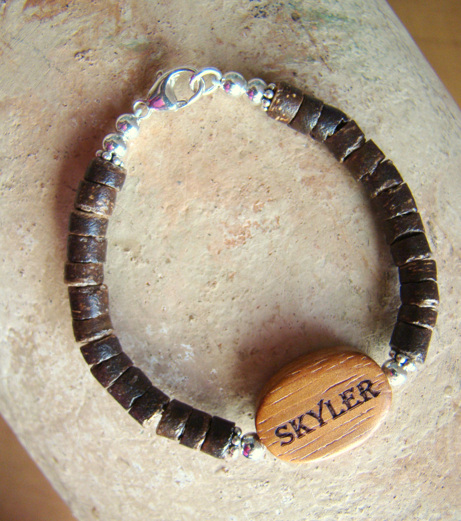 Engraved Natural Organic Wood Coconut Dark Wood Bead Sterling Silver Custom Name Bracelet