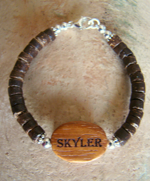 Engraved Natural Organic Wood Coconut Bead Sterling Silver Custom Name Bracelet