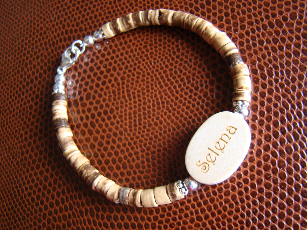 Engraved Natural Organic Light Colored Wood Coconut Bead Sterling Silver Custom Name Bracelet