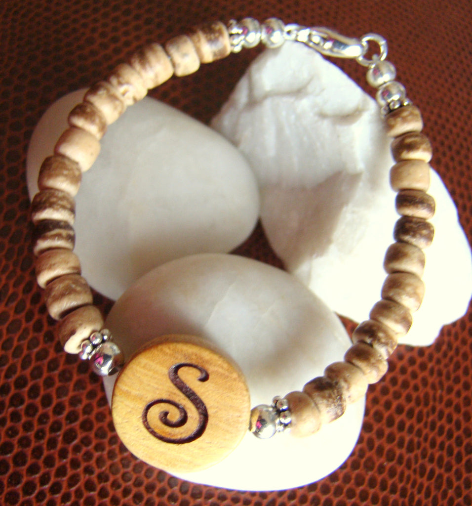 Engraved Natural Organic Wood Coconut Bead Sterling Silver Custom Monogram Initial Bracelet