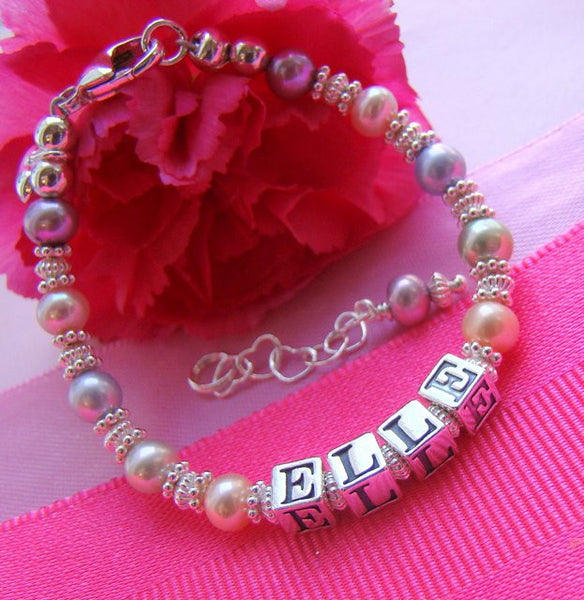 Pastels Multicolor and Bright Silver Personalized Name Bracelet