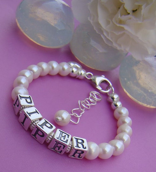Classic Freshwater White Round Pearl Sterling Silver Name Bracelet