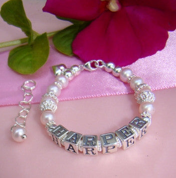 Freshwater Light Pink Pearls Custom Name Bracelet