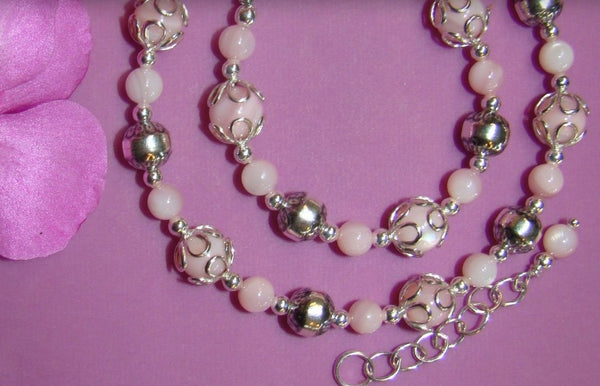 Mother and Daughter Soft Pink Mother of Pearl Matching Bracelets