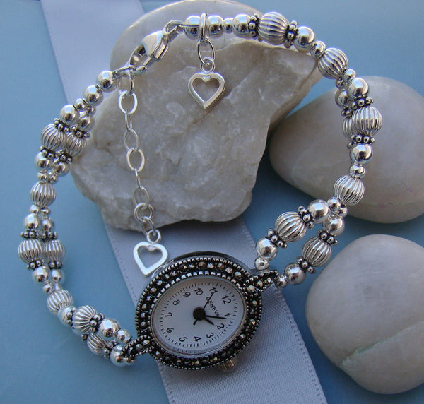 Sterling Silver Marcasite Watch Face with Hearts Accent Ladies Beaded Watch