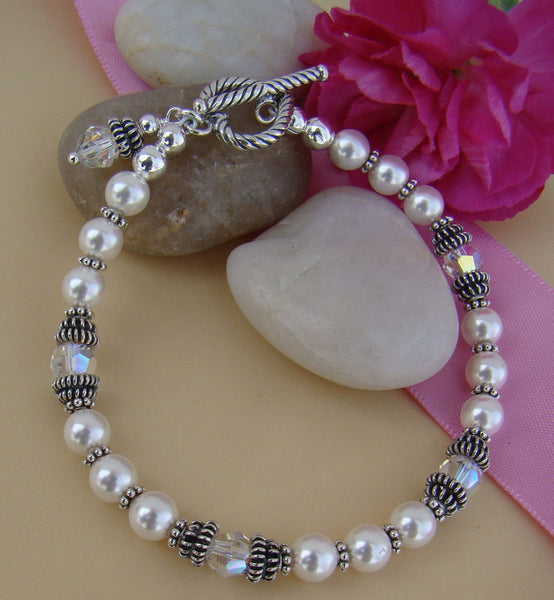 Double Bali Sterling Silver White Pearl Crystals Ladies Adult Birthstone Bracelet