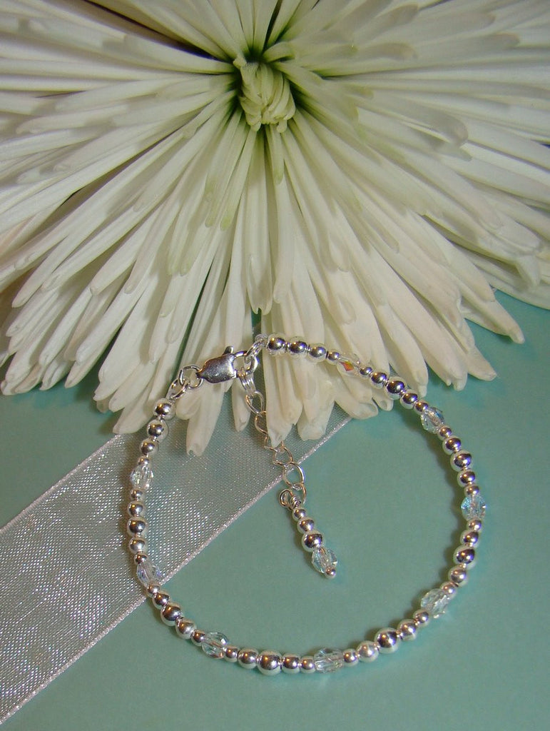 Tiny Beaded Custom Crystal Birthstone Sterling Silver Bracelet