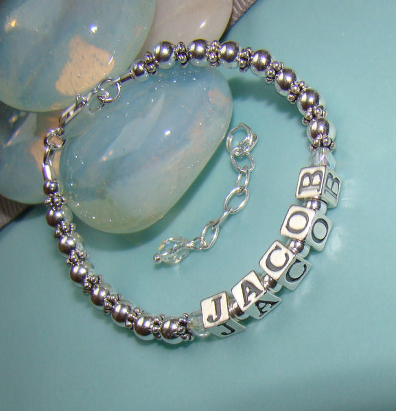 All Sterling Silver Birthstone Personalized Name Bracelet or Necklace
