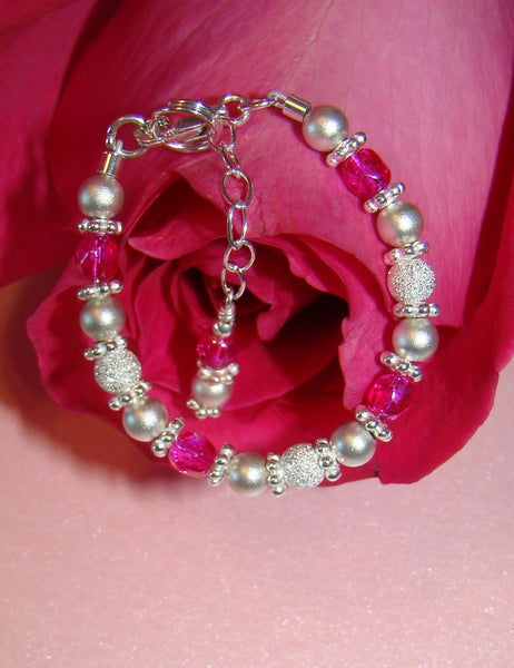 All Pretty in Fuschia or Birthstone Bracelet Color Choice