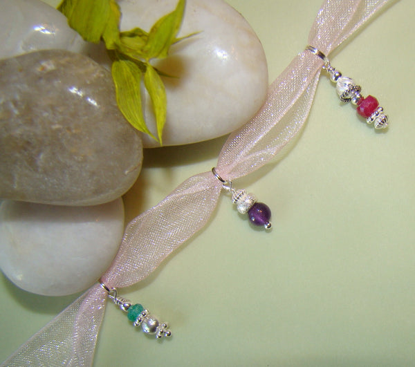 Fancy Sterling Silver Gemstone Birthstone Bracelet Drop or Necklace Charm