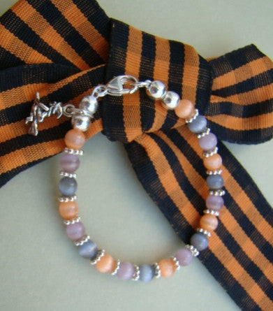 Little Girls Halloween Charm Sterling Silver Cat Eye Bracelet