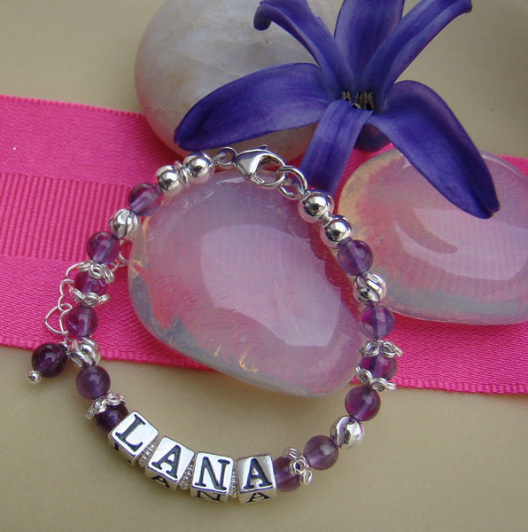 Amethyst Gemstone February Birthstone Baby Child Name Bracelet