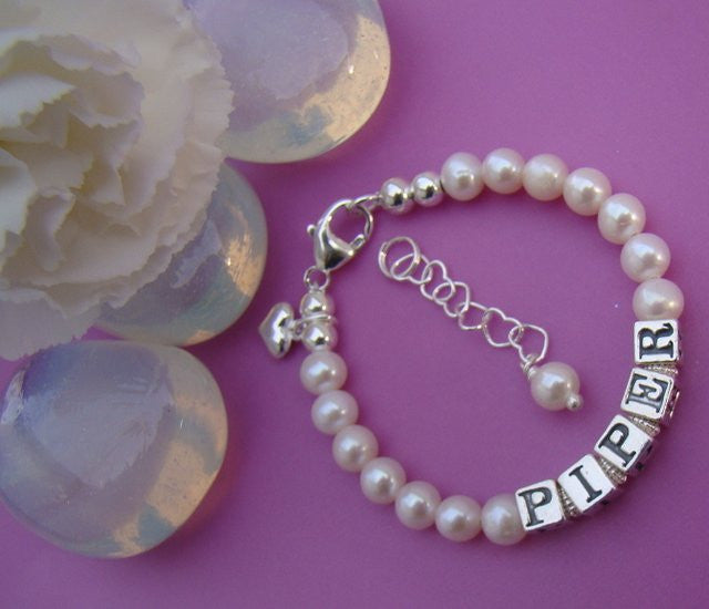 Classic White Freshwater Pearls Custom Personalized Name Bracelet