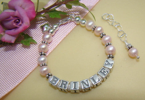 Freshwater Pink Pearls Bali Silver Name Hearts Personalized Custom Bracelet