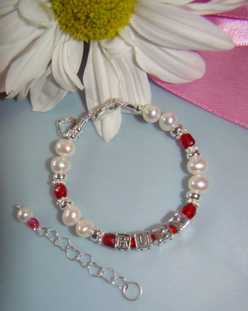 Fire Czech Red Ruby July Birthstone Crystal White Pearl Name Bracelet