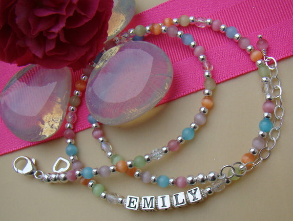 Multi Color Pastel Cats Eye Crystals Sterling Silver Birthstone Name Necklace