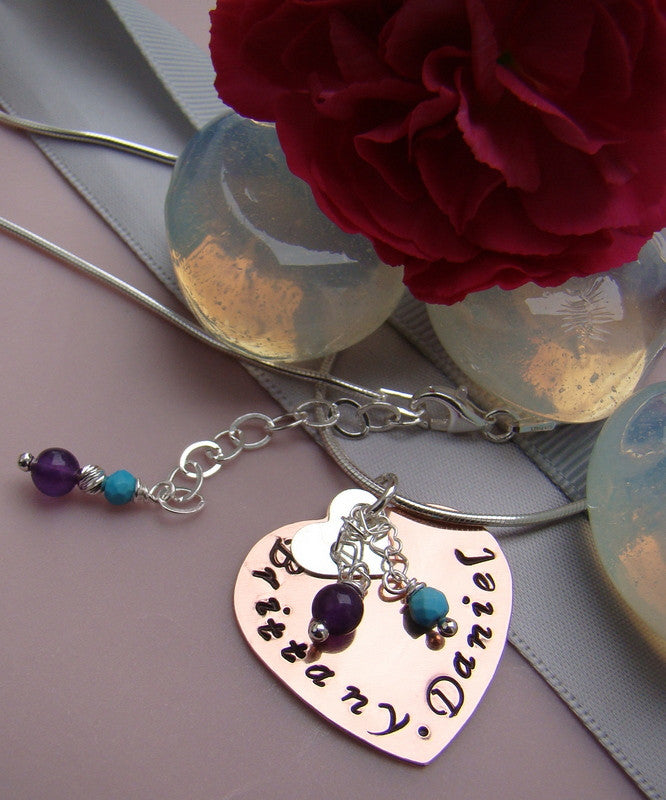 Hand Stamped Pendant Sterling Silver Gemstone Birthstone Necklace