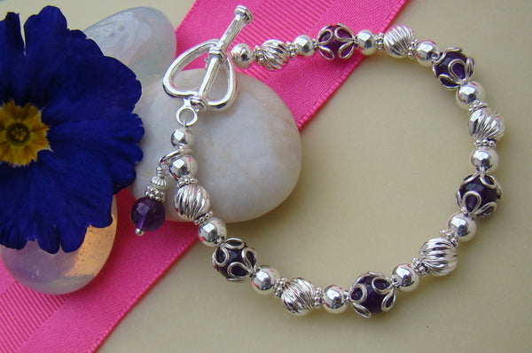 Amethyst February Gemstone or Crystal Birthstone Birth Month Bracelet