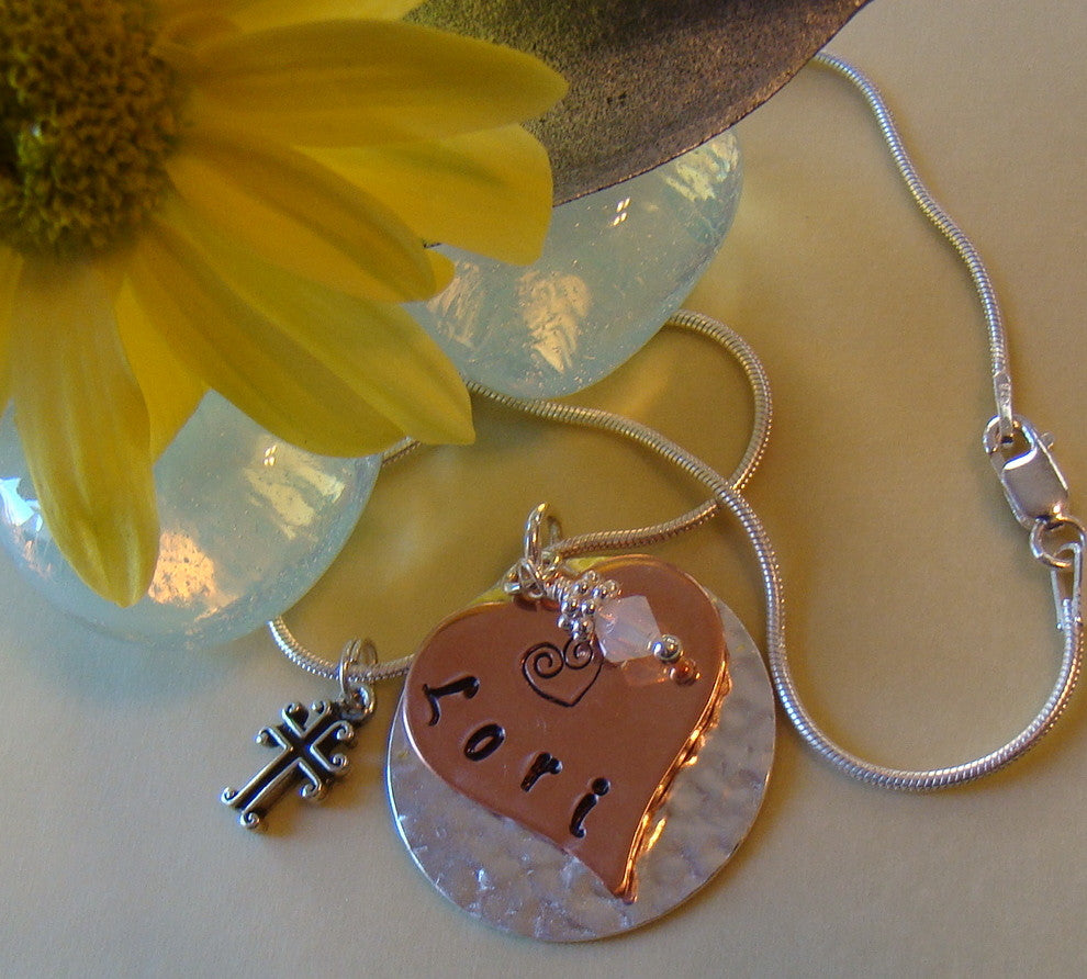 Hammered Sterling Silver and Copper Layered Hand Stamped Personalized Name Pendant Necklace with Birthstone Charm