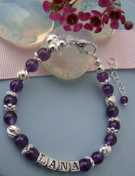 Amethyst February Gemstone Adult Birthstone Sterling Silver Bracelet