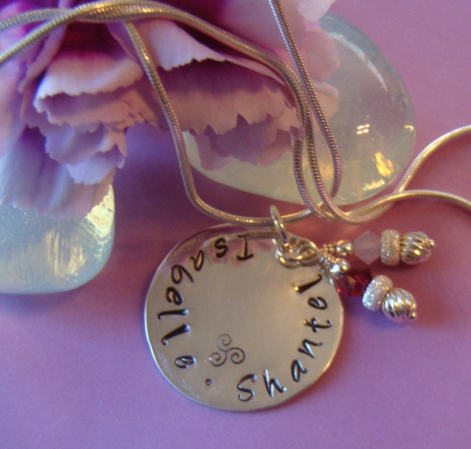 Hand Stamped Sterling Silver 24mm Round Pedant Birthstone Sterling Silver Necklace