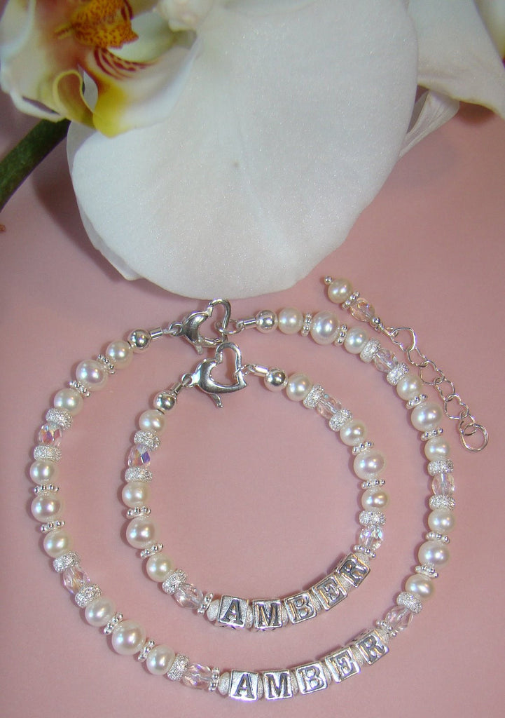 Mother and Daughter Freshwater Pearls Birthstone Heart Name Bracelets