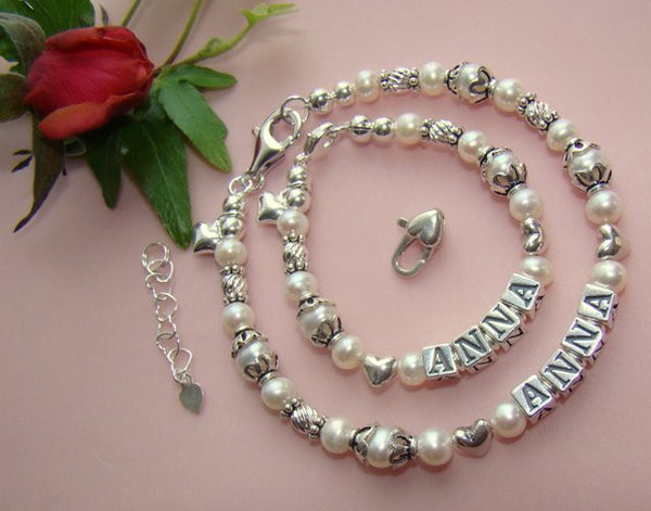 Mother and Daughter White Pearls Silver Twists and Hearts Heart Name Bracelets