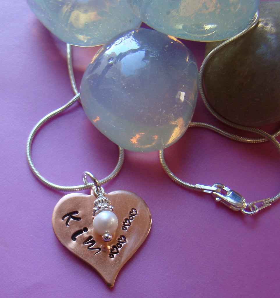 Hand Stamped Copper Heart Name Pendant and White Pearl Drop Charm