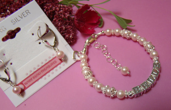Fancy Pink Freshwater Sparkling Name Bracelet and Matching Earrings