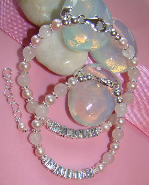 Mother and Daughter Soft Rose Quartz Pink Pearls Name Bracelets