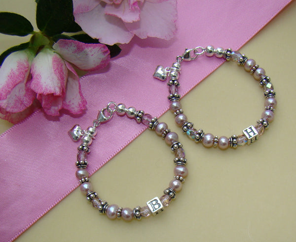 Freshwater Lavender Pearls Bali Monogram Initial or Baby Child Name Bracelet