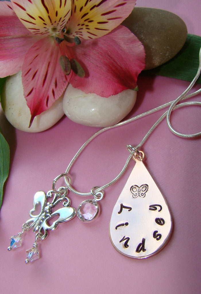 Copper Hand Stamped Pendant Butterfly Birthstone Charm Necklace