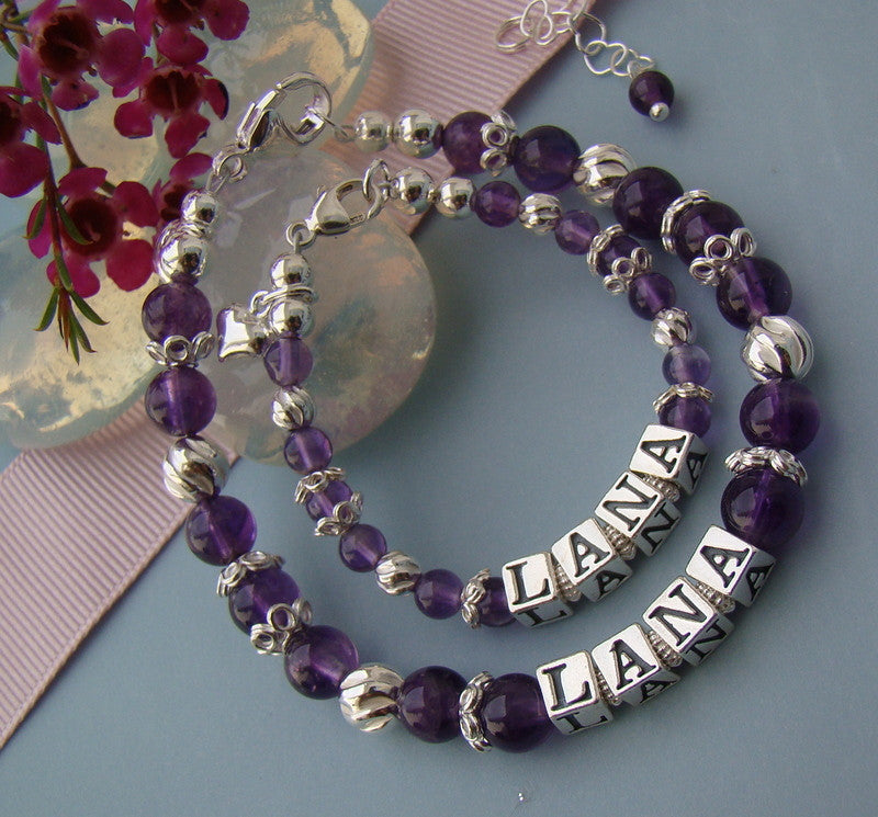Mother and Daughter Amethyst February Gems Gemstone Birthstone Name Bracelets