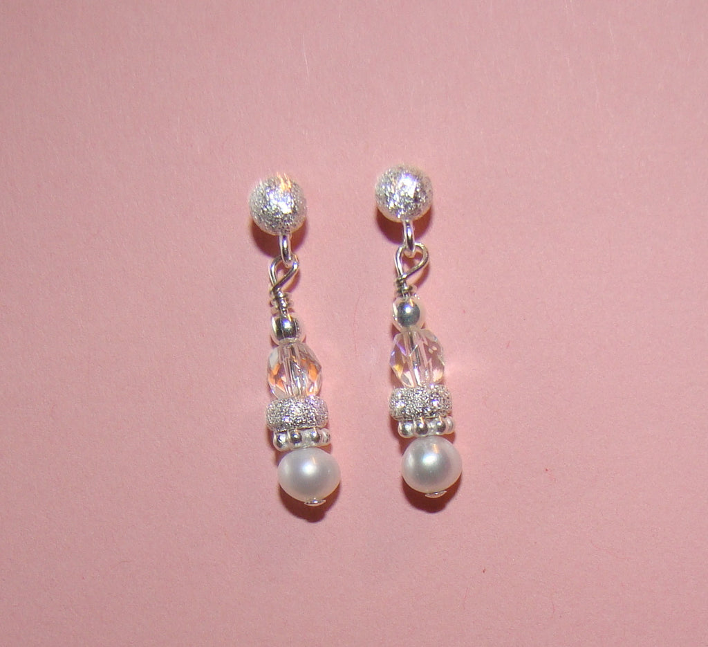 All Bright Stardust Freshwater Pearl Birthstone Silver Earrings