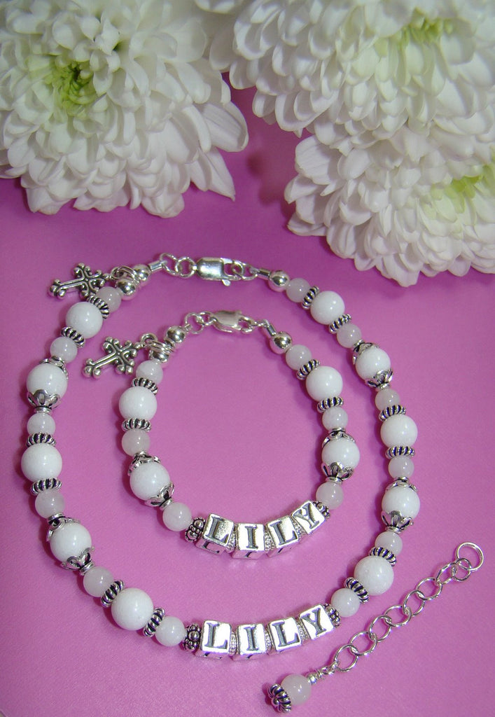 Mother and Daughter White Snow Quartz Gemstone Baptism Name Bracelets