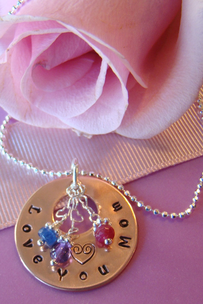Grandmother Nana Mom Mother Hand Stamped Pendant Gemstone Birthstone Silver Necklace