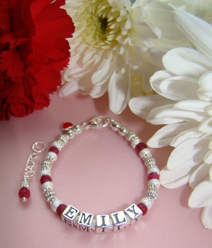 Precious Ruby Gemstone July Birthstone Baby Child Adult Personalized Name Bracelet