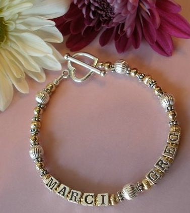 Mothers Two Toned Gold Filled and Sterling Silver Name Bracelet