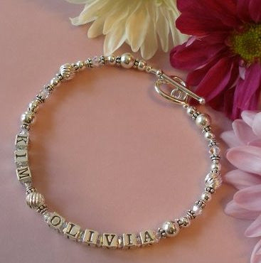 Mothers Sterling Silver and Crystals Family Double Name Bracelet
