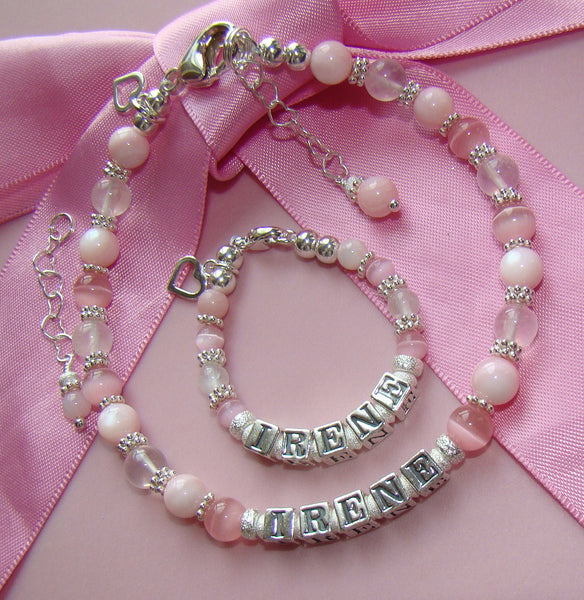 Mom and Daughter Mother Baby Soft Pink Gems Gemstones Personalized Matching Name Bracelets
