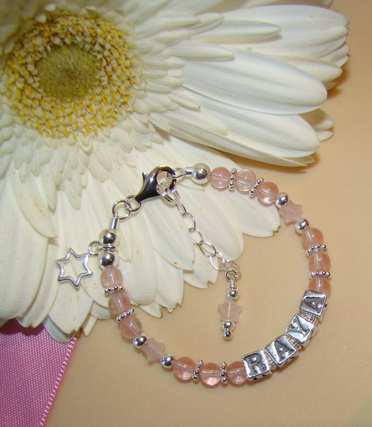 Cherry Quartz Star Personalized Sterling Silver Name Bracelet