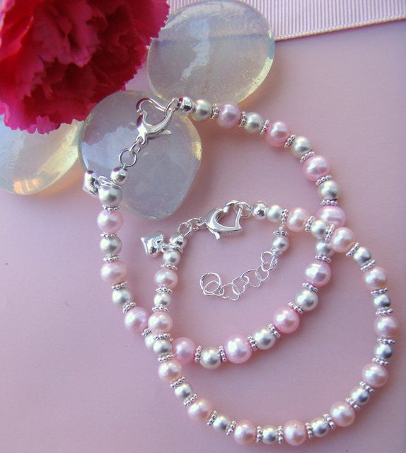 Mother Daughter Light Pink Pearl Heart Clasp Puffed Heart Charm Bracelets with Matte Sterling Silver