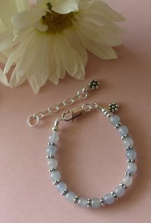 Sky Blue Quartz Gemstone Sterling Silver Baby Child Adult Bracelet