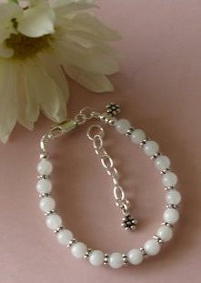 Snow Quartz Gemstone Sterling Silver Bracelet