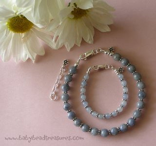 Mother and Daughter Sky Blue Quartz Gemstone Bracelets