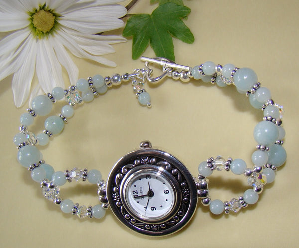 Amazonite Ladies Beaded Gemstone Geneva Watch