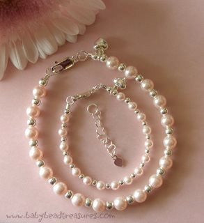 Soft Pink Freshwater Pearls Mother and Daughter Silver Bracelets